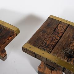 Pair of rustic side tables made of raw hatch boards - 1484953