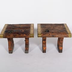 Pair of rustic side tables made of raw hatch boards - 1484956