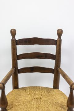 Pair of straw armchairs in natural beech 1950s - 2065228