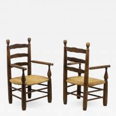 Pair of straw armchairs in natural beech 1950s - 2066247