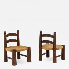 Pair of straw chairs 1940s - 2066244