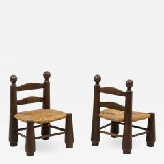 Pair of straw chairs 1940s - 2066245