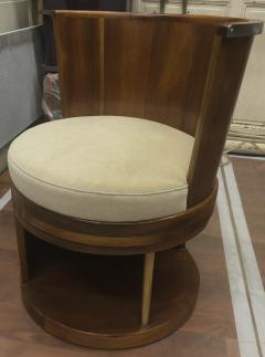 Pair of stunning French modernist barrel swivel arm chairs - 1162961