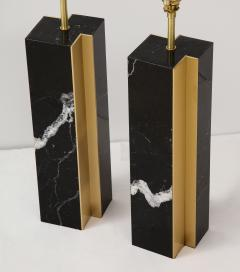 Pair of table lamp with bronze accents Black and white dalamata quartzite  - 1656573