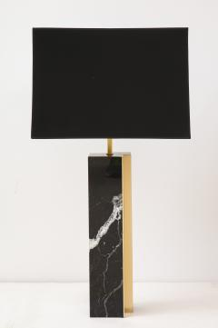 Pair of table lamp with bronze accents Black and white dalamata quartzite  - 1656574