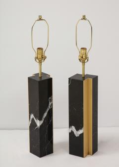 Pair of table lamp with bronze accents Black and white dalamata quartzite  - 1656577