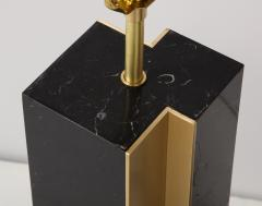 Pair of table lamp with bronze accents Black and white dalamata quartzite  - 1656578