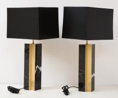Pair of table lamp with bronze accents Black and white dalamata quartzite  - 1656579