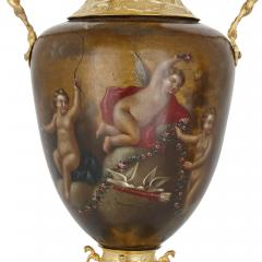 Pair of vermeil and vernis Martin Louis XV style vases - 1626982