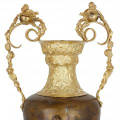 Pair of vermeil and vernis Martin Louis XV style vases - 1626983