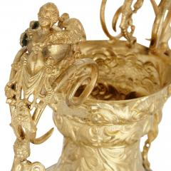 Pair of vermeil and vernis Martin Louis XV style vases - 1626998