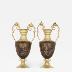 Pair of vermeil and vernis Martin Louis XV style vases - 1628643