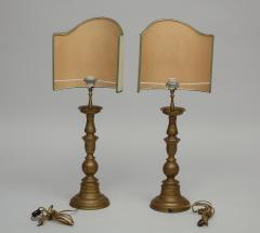 Pair of vintage brass pricket candlestick lamps with TImney Fowler shades - 1373062