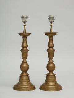 Pair of vintage brass pricket candlestick lamps with TImney Fowler shades - 1373066