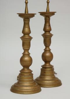 Pair of vintage brass pricket candlestick lamps with TImney Fowler shades - 1373068