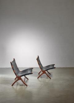 Pair of wood and leather sling chairs 1950s - 1143191