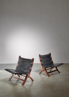 Pair of wood and leather sling chairs 1950s - 1143192