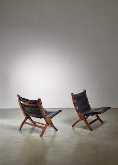 Pair of wood and leather sling chairs 1950s - 1143193