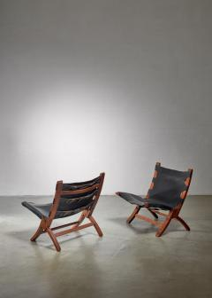 Pair of wood and leather sling chairs 1950s - 1143195