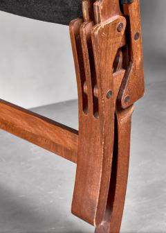 Pair of wood and leather sling chairs 1950s - 1143197
