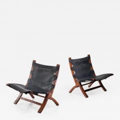 Pair of wood and leather sling chairs 1950s - 1143320