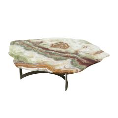Pakistan Onyx Top and Steel Base French 1960s Coffee Table - 2018977
