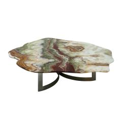 Pakistan Onyx Top and Steel Base French 1960s Coffee Table - 2018979