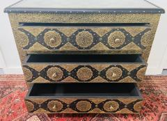 Palatial Hollywood Regency Commode Chest Nightstand in Brass and Ebony a Pair - 1597260