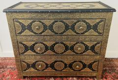 Palatial Hollywood Regency Commode Chest Nightstand in Brass and Ebony a Pair - 1597263