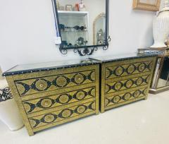 Palatial Hollywood Regency Commode Chest Nightstand in Brass and Ebony a Pair - 1597273