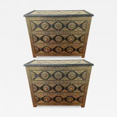 Palatial Hollywood Regency Commode Chest Nightstand in Brass and Ebony a Pair - 1605247