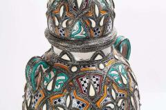 Palatial Lidded Vase or Urn in Ceramic with Brass Inlay a Pair - 1715378