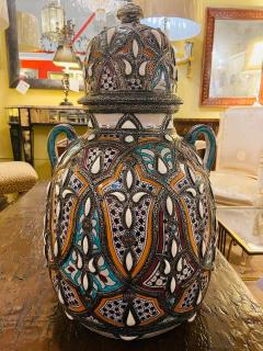Palatial Lidded Vase or Urn in Ceramic with Brass Inlay a Pair - 1715380