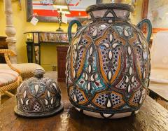 Palatial Lidded Vase or Urn in Ceramic with Brass Inlay a Pair - 1715385
