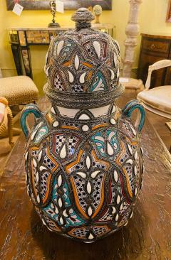 Palatial Lidded Vase or Urn in Ceramic with Brass Inlay a Pair - 1715386