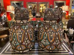 Palatial Lidded Vase or Urn in Ceramic with Brass Inlay a Pair - 1715387