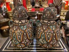 Palatial Lidded Vase or Urn in Ceramic with Brass Inlay a Pair - 1715388
