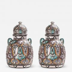 Palatial Lidded Vase or Urn in Ceramic with Brass Inlay a Pair - 1717740