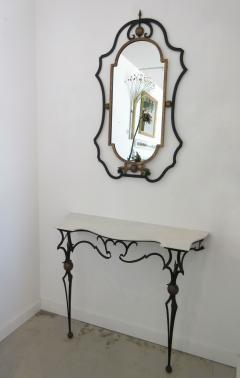 Palladio Italian Gilt Iron Marble Top Console Table And Mirror   248297