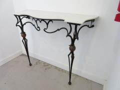 Palladio Italian Gilt Iron Marble Top Console Table And Mirror   248301