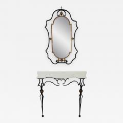Palladio Italian Gilt Iron Marble Top Console Table And Mirror   253128