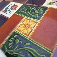 Panel of 25 Authentic Handmade Jugendstil Relief Tiles France circa 1930 - 1298708