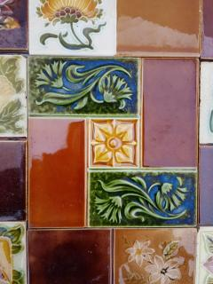 Panel of 25 Authentic Handmade Jugendstil Relief Tiles France circa 1930 - 1298709