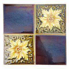 Panel of 9 Glazed Art Deco Relief Tiles by S A Des Pavillions 1930s - 1298713