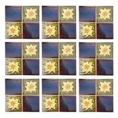 Panel of 9 Glazed Art Deco Relief Tiles by S A Des Pavillions 1930s - 1298715