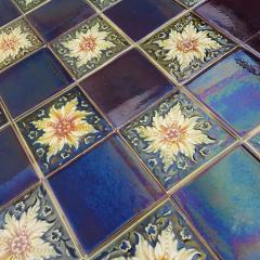 Panel of 9 Glazed Art Deco Relief Tiles by S A Des Pavillions 1930s - 1298719