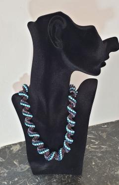 Paola B Murano glass beads hand made blue and purple neklace - 979724