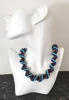 Paola B Murano glass beads hand made blue and purple neklace - 979728