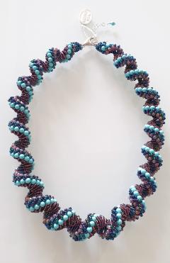 Paola B Murano glass beads hand made blue and purple neklace - 979729
