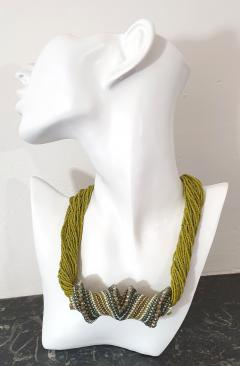 Paola B Murano glass beads hand made costume necklace by artist Paola B  - 986590